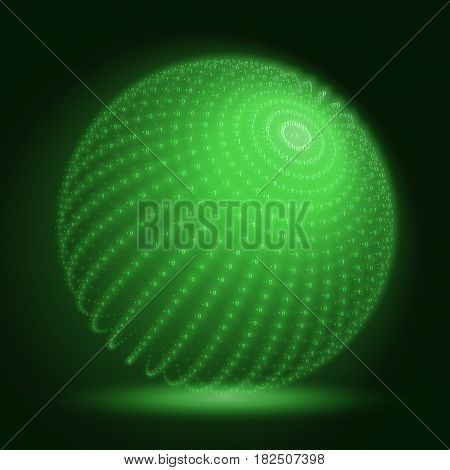 Vector cyber sphere. Green big data sphere with binary numbers strings. Information code structure representation. Cryptographic analysis. Bitcoin blockchain transfer.