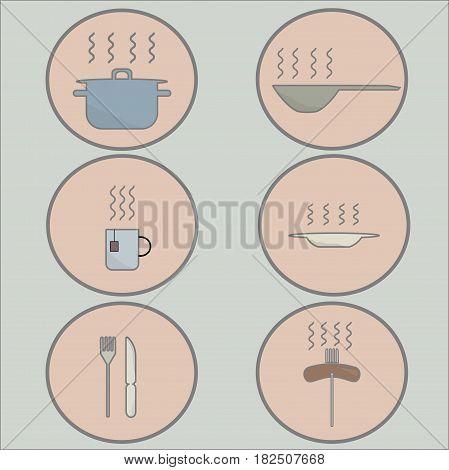 Иконки на светлом фоне посуда и горячая еда