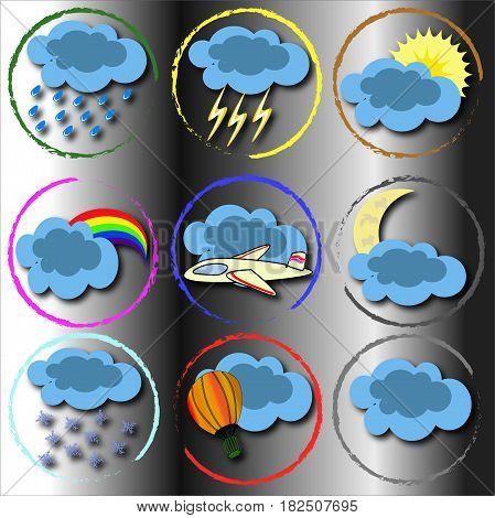 Шаблон иконки погоды в круглы