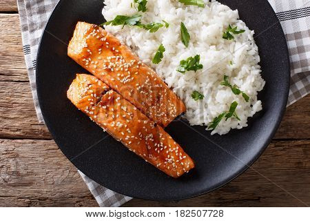 Soy-Honey Glazed salmon and rice top view