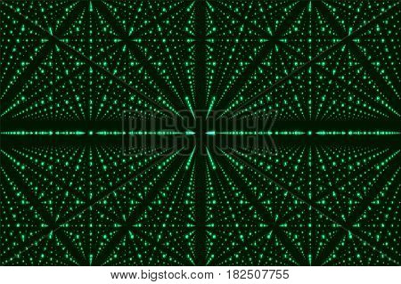 Vector infinity data matrix visualization. Green big data structure with binary numbers lattice. Information code array representation. Cryptographic analysis. Bitcoin blockchain transfer.