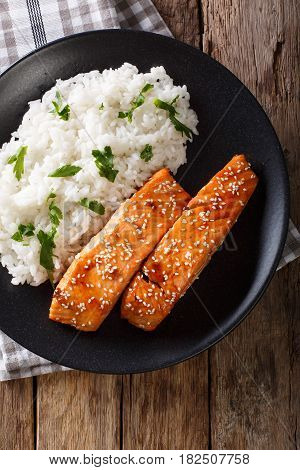 Soy-Honey Glazed salmon and rice. vertical top view