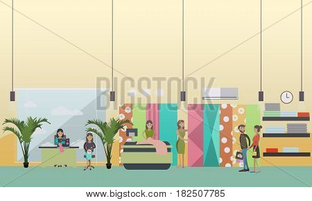 Vector illustration of young woman draping cloth, customers choosing fabric to get curtains or clothing made. Atelier, tailoring shop, fashion salon concept design element in flat style.