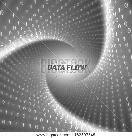 Vector data flow visualization. Black flow of big data as binary numbers strings twisted in tunnel. Information code representation. Cryptographic analysis. Bitcoin blockchain transfer. Stream of code