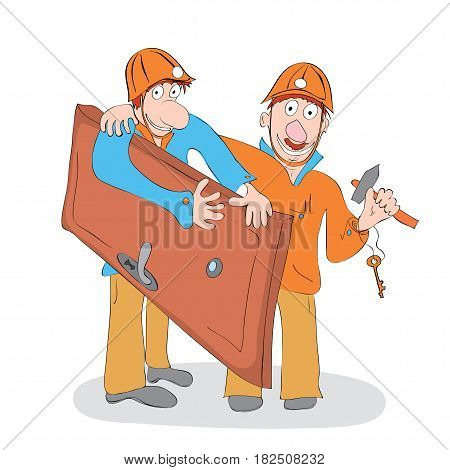 Two cheerful workers in helmets carrying a door and a hammer in their hands / Turnkey installation of doors