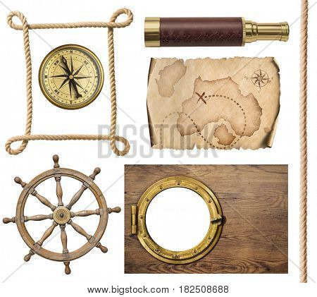 nautical objects rope, map, compass, steering wheel and porthole 3d illustration