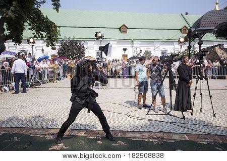 Kiev, Ukraine - 28 August 2016: A Funny Photographer In The Kiev-pechersk Lavra.