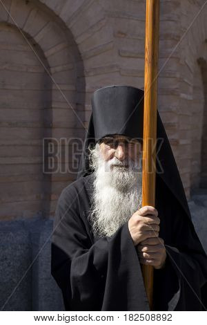 Kiev, Ukraine - 28 August 2016: Monk Before The Religious Procession In The Kiev-pechersk Lavra.