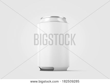 Blank white collapsible beer can cozy mockup isolated side view 3d rendering. Empty neoprene cooler holder mock up for tin beverage. Plain drinkware hugger design template. Fizzy pop soda sleeve.