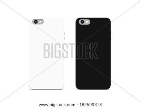 Blank black and white phone case mock up isolated 3d illustration. Empty smartphone cover mockups set ready for logo texture print presentation. Cellphone protector cover design concept.