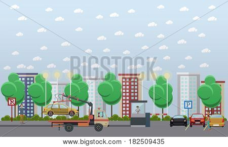 Vector illustration of car park with parked automobiles, tow truck evacuating car, parking assistant in guard booth, driver receiving parking ticket. Flat style design elements.