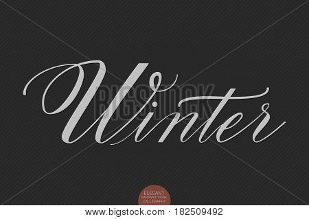 Hand drawn lettering Winter. Elegant modern handwritten calligraphy. Vector Ink illustration. Typography poster on dark background. For cards, invitations, prints etc.