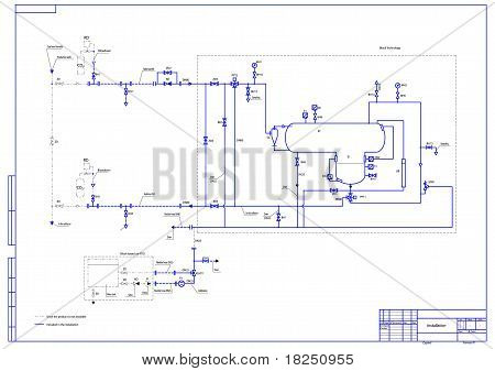 Hydraulic scheme. Vector illustration