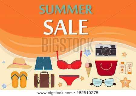 Summer sale template banner vector illustration. Price label offer summer sale discount promotion beach fashion shop. Hot summer season sale clearance tag template retail store flyer.