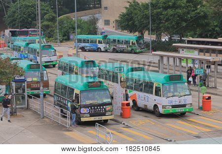 HONG KONG - NOVEMBER 11, 2016: Unidentified people travel by mini bus at the University mini bus terminal.