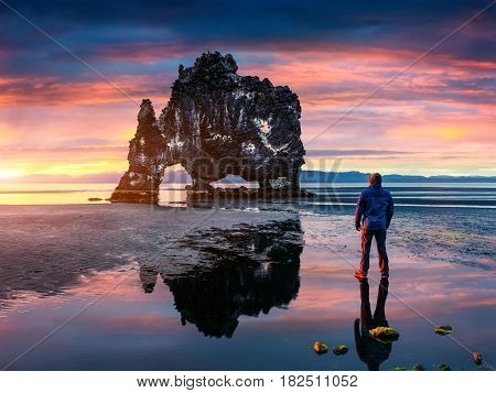 Man stands on the surface of water at fall of tide and and admiring of sunrise. Huge basalt stack Hvtserkur on the eastern shore of the Vatnsnes peninsula Iceland Europe.