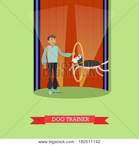 Vector illustration of circus man with trained dog jumping through hoop. Animal show in circus. Dog trainer flat style design element.
