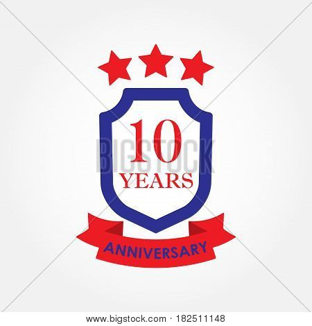 10 years anniversary icon or emblem. 10th anniversary label. Celebration invitation and congratulation design element. Colorful vector illustration.