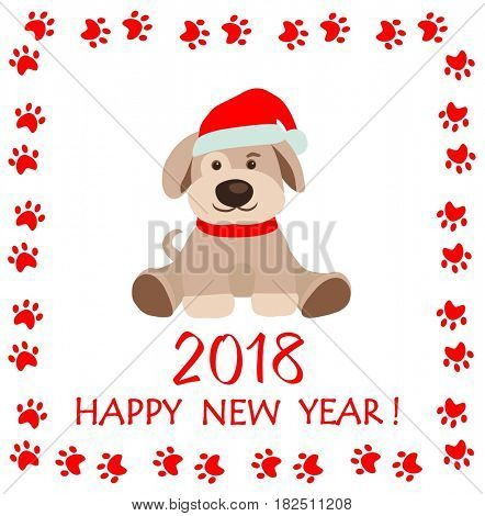 Childish funny paper applique with puppy for New year 2018 greeting