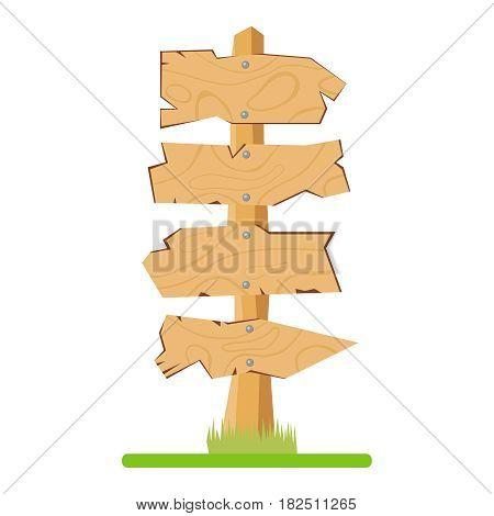 Wooden signposts. Flat design vector illustration vector.