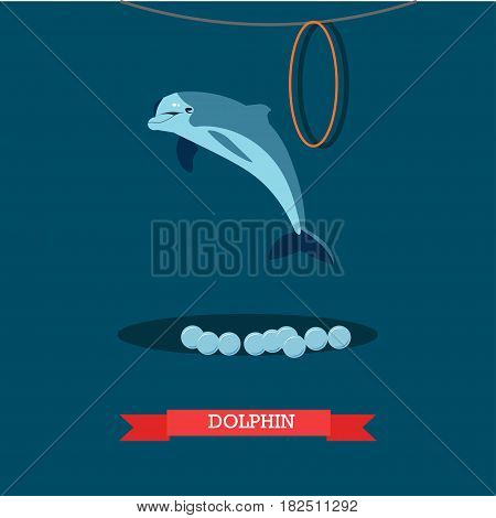 Vector illustration of jumping out of water dolphin. Dolphinarium dolphin show flat style design element.