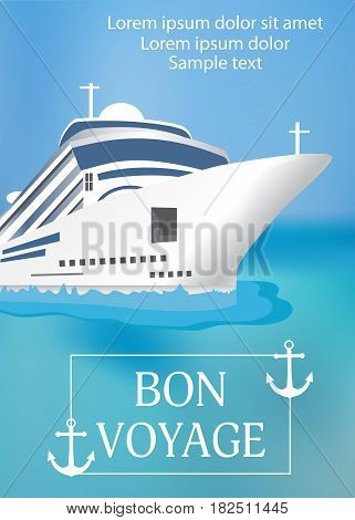 Poster template cruise ship with «Bon Voyage» headline. Transatlantic liner ship anchor. Vector illustration.