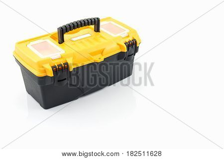 Yellow tool box Plastic tool box on white background.
