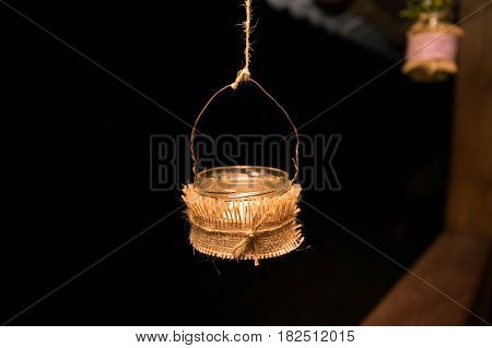 Hanging candle holder hand made night outdoors