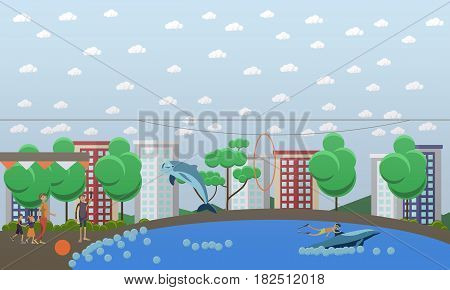 Vector illustration of trainer and bottlenose dolphin performing tricks, young man enjoying swimming with dolphin in blue swimming pool. Dolphinarium flat style design elements.