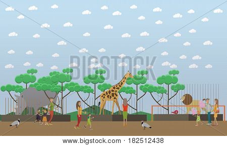 Zoo concept vector illustration. Visitors adults and kids seeing wild exotic animals in cages rhinoceros, giraffe and lion. Peafowls wandering among people. Zoo animals flat style design.