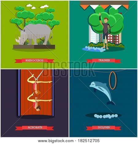 Vector set of dolphinarium, zoo and circus posters. Rhinoceros, Trainer, Acrobats and Dolphin flat style design elements.