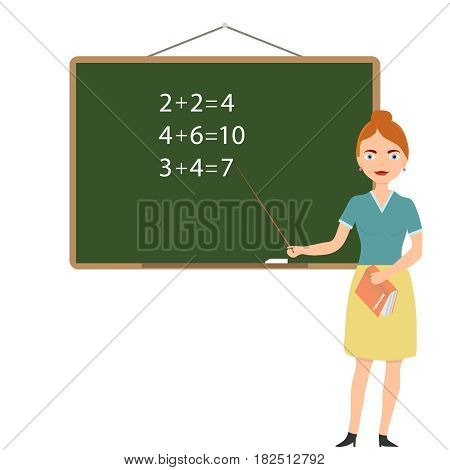 The teacher is near the blackboard. Flat design vector illustration vector.