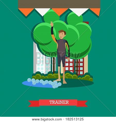 Vector illustration of young man training dolphin to perform tricks for public performances. Dolphin trainer flat style design element.