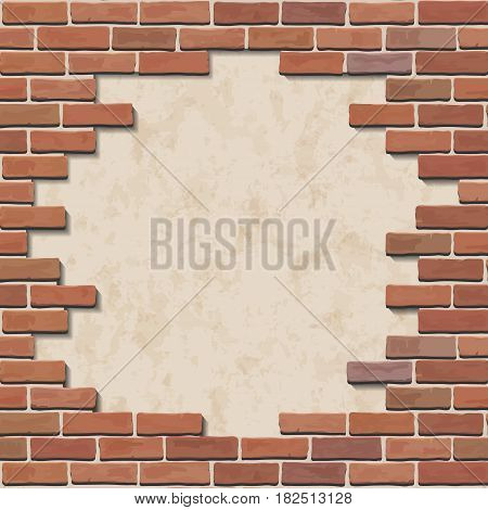 Damaged red brick wall with hole. Vector illustration.