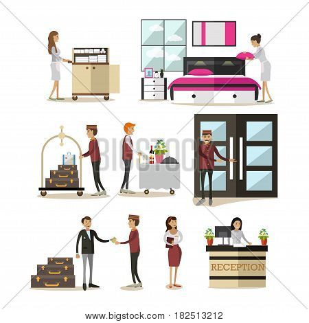 Vector icons set of deluxe hotel room, hotel staff and guests cartoon characters isolated on white background. Flat style design elements.