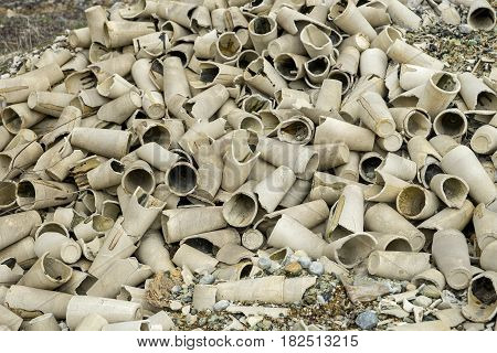 Ceramic cup for chemical analysis thrown in the trash