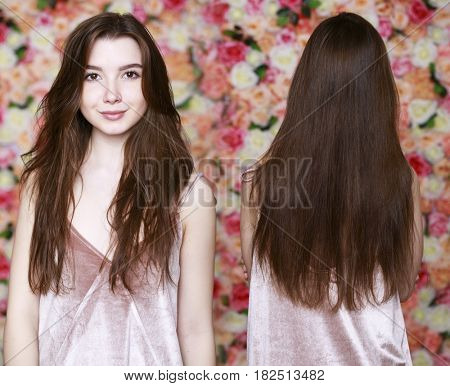 Collage beauty model. Female Long brunette hair, rear view, on studio wall background