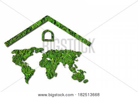 Concept ecology. Green house. World map component of the walls of the house isolated on white background