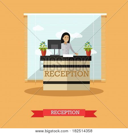 Hotel reception concept vector illustration. Young woman receptionist standing at reception desk flat style design element.
