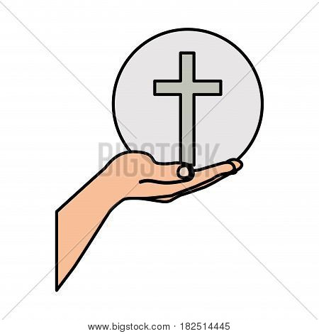 colorful silhouette of hand extended with sphere with cross symbol vector illustration