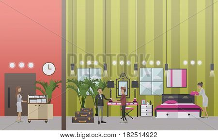 Hotel housekeeping vector illustration. Housemaid making bed in hotel room. Hotel porter service, housekeeping flat style design elements.