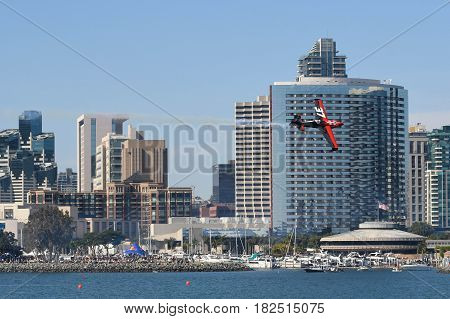 San Diego USA - April 16 2017: Peter Podlunsek of Slovenia performs during Red Bull Air Race performs during the Red Bull Air Race World Championship.