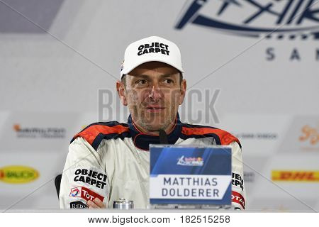 San Diego, USA - April 16, 2017: Matthias Dolderer during press conference the Red Bull Air Race World Championship.