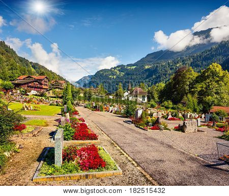 Colorful summer view of Lauterbrunnen village cemetery. Beautiful outdoor scene in Swiss Alps Bernese Oberland in the canton of Bern Switzerland Europe. Artistic style post processed photo.