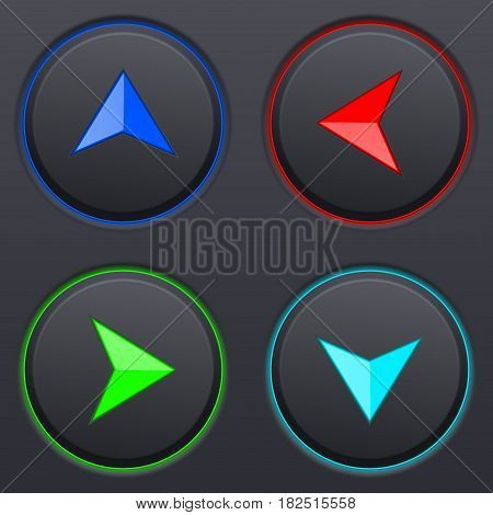 Set of black buttons with colored direction arrows. Vector 3d illustration