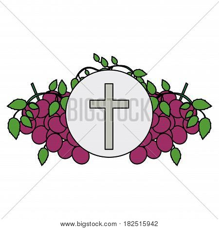 colorful background with communion religious icons of grapes and christian cross vector illustration