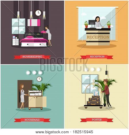 Vector set of hotel square posters. Housekeeping, Reception, Housemaid, Porter flat style design elements.