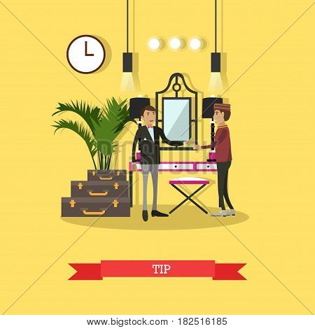 Vector illustration of customer male giving tip to hotel porter for carrying his luggage. Tip concept flat style design element.