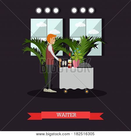 Vector illustration of waiter delivering food and drink to customers. Hotel waiter concept design element in flat style.