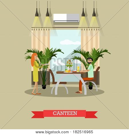 Vector illustration of family couple having lunch or dinner. Dining Room interior. Canteen flat style design element.